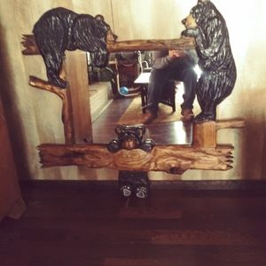Chainsaw carved mirror